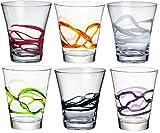 Bormioli Rocco Ceralacca Tumbler Glasses - 385ml (13oz) - Multi Coloured - Set of 6 by Bormioli Rocco