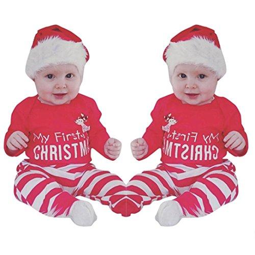 Säuglingsbaby Mädchen Jungen *My First Halloween *Pumpkin Romper Kürbis Spielanzug Top + Hosen + Hut Halloween Kleidung Satz (0-3 Monate, Y-Rot1-Christmas) ()
