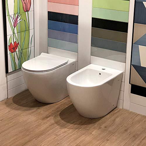 Coppia di Sanitari WC e Bidet a Terra Filo Muro in Ceramica 37,8x56,5x41cm Ginelli Bianco