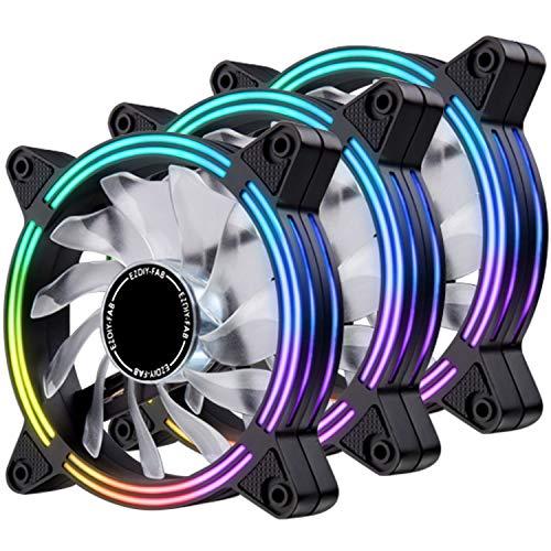 EZDIY-FAB Ventilateur de 120 mm à LED,Ventilateur de boîtier à Double Cadre pour Les boîtiers de PC,Silencieux,Ventilateurs CPU et radiateurs 3-Pin-3-Pack