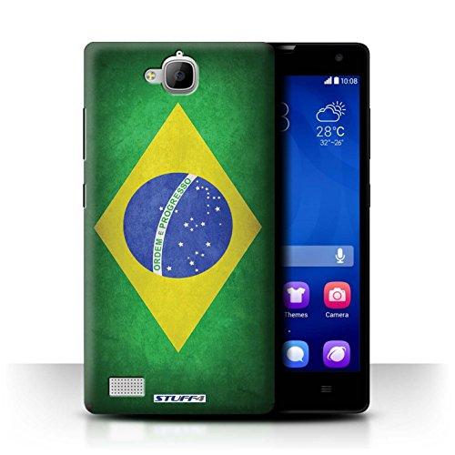 Stuff4® Hülle/Case für Huawei Honor 3C / Brasilien/Brasilianische Muster/Flagge Kollektion