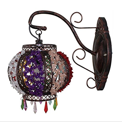 ZT Moroccan Mosaic Globe Wall Sconce Lamp Glass And Metal Light E14,Without Bulb