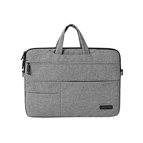Jia HU 1Slim Laptop Aktentasche Messenger Tasche Portfolio Großer Kapazität Umhängetaschen Reise College grau