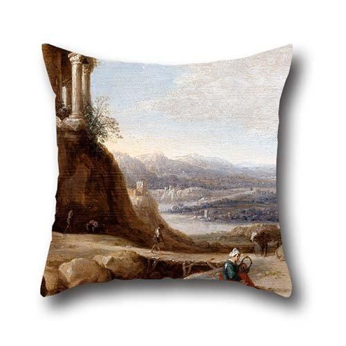 la-pintura-al-leo-de-hooch-carel-cornelisz-a-ruined-temple-pillowcover-de-16x-16pulgadas-40por-40cm-