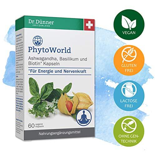 Dr.Dünner PhytoWorld 60 Kapseln für Energie & Nervenkraft | Nahrungsergänzung für innere Balance | Ashwagandha, Basilikum & Biotin | Ohne Gentechnik + vegan + glutenfrei + laktosefrei