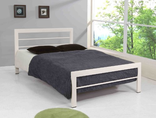 Brooklyn White Metal Bed Frame Small Double 4FT Modern Bedstead