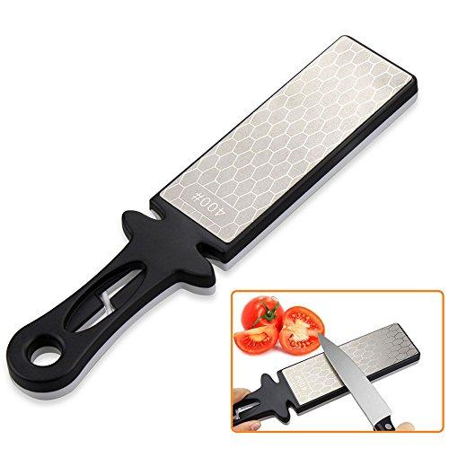 Messer Spitzer Handheld comsmart 400/1000Körnung doppelseitig Diamant Messer schärfen Wetstone Stein für Küche Messer Schere Garten Werkzeug (schwarz + weiß) (Schärfen Messer Steine)
