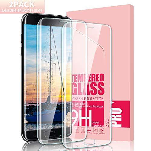 Youer Galaxy S7 Edge Panzerglas Schutzfolie, [2 stück] Ultra-dünner Full Coverage HD Ultra Klar Abdeckung Gehärtetem Glas, HD Displayschutzfolie, Anti-Kratzer, 9H Härte, Blasenfreie - Transparent