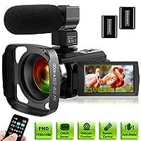 كاميرا فيديو فائقة الدقة مع ميكروفون 1080P 30FPS 24MP Vlogging Digital مع غطاء عدسة 3.0 بوصة شاشة 16X رقمي تسجيل فيديو يوتيوب كاميرا للتصوير الفوري
