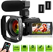 Ultra HD Video Camera Camcorder with Microphone 1080P 30FPS 24MP Vlogging Digital Camera with Lens Hood 3.0 In