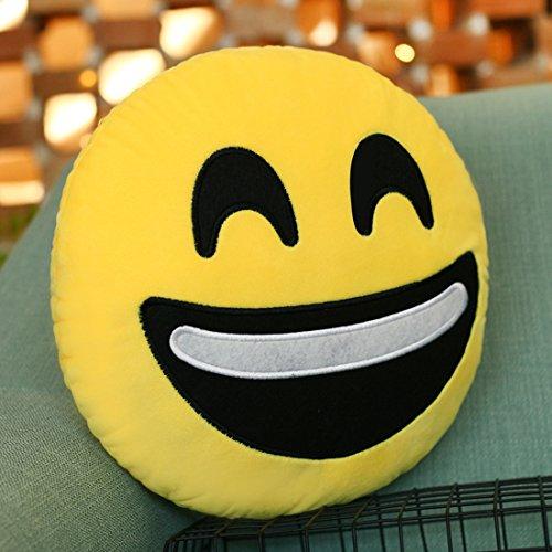 Emoji Kissen lachend Gesicht Kissen, lila-Salz® - Emoticon niedlich weich gefüllte bequeme Plüsch Smiley Kissen Kissen, 28cm / 12 Zoll gelb Runde dick, bunte Neuheit Geschenk 12-zoll-kissen
