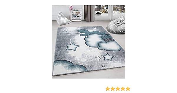80x150 cm Kinderteppich Kinderzimmer Teppich B/är Wolken Stern-Angeln Grau-Wei/ß-Blau