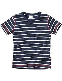 wellyou, Kinder Kurzarm T-Shirt, dunkel-blau weiss, geringelt, für Jungen, 100% Baumwolle