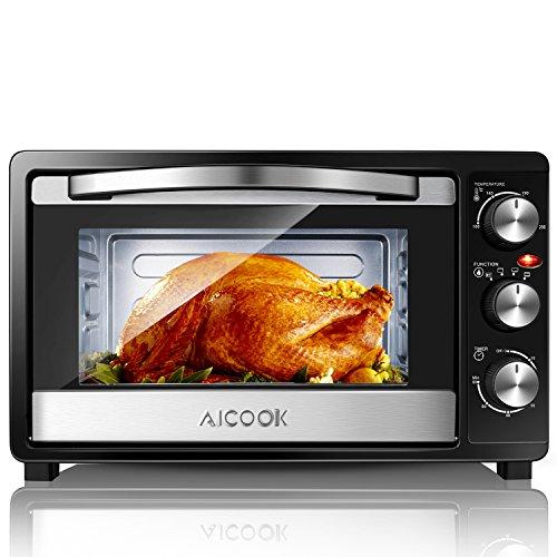 Aicook Mini Backofen |Temperaturregelung 100-230°C|23 Liter|60 Min.Timer|6 in 1 Backofen mit abnehmbarer Grillplatte|1500W|Schwarz