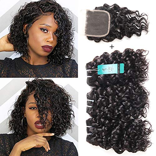 Water wave human hair bundles with closure, udu onda oceanica malese pacchetto wet & wavy offerte estensioni del tessuto dei capelli umani 50g/pc
