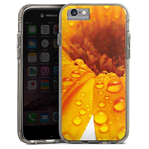 Apple iPhone X Bumper Hülle Bumper Case Glitzer Hülle Blume Flower Tropfen Bumper Case transparent grau