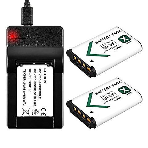 BPS 2x 1450mAh NP-BX1 Li-ion Battery + USB Charger for