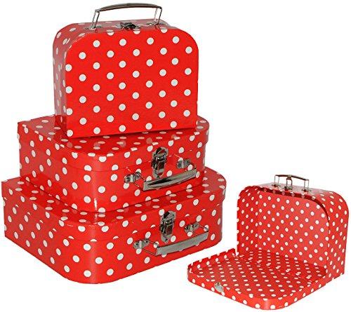 3 tlg. Kofferset / Kinderkoffer - in 3 Größen ! - ' rot & weiße Punkte ' - Koffer - Pappkoffer -...
