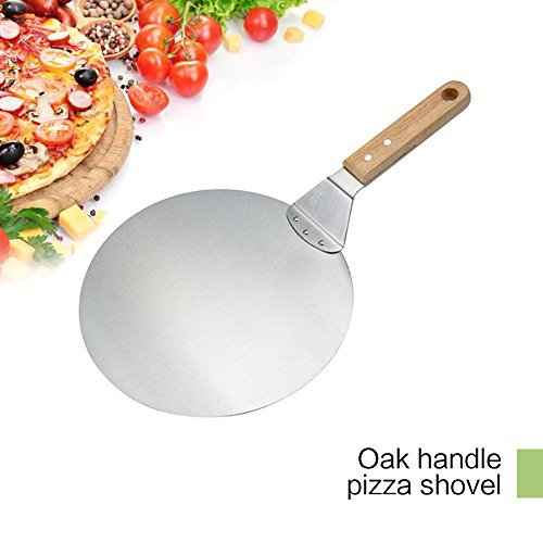 Lovebay Pizza Peel - Paddle Round Cake Shovel Baking Tools Wood Handle deal for baking on Pizza Stone Oven & Grill