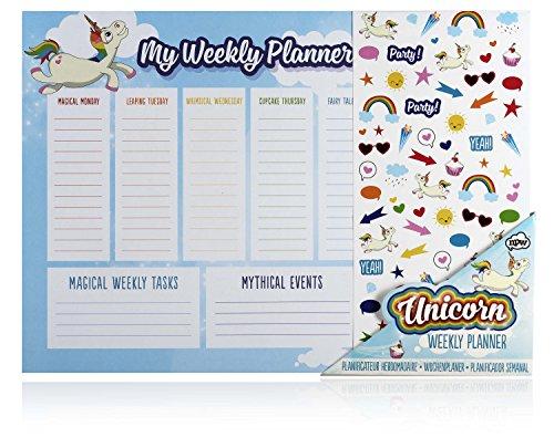NPW Weekly Calendar Planner Desk Pad - Desktop Planner Unicorn