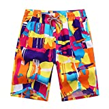 Männer Schwimmen Surf Printed Beach Shorts, Summer Board Swim Wear Shorts Trunks (L, Buntes Muster)