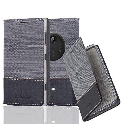 Preisvergleich Produktbild Cadorabo Hülle für Nokia Lumia 1020 - Hülle in GRAU SCHWARZ – Handyhülle mit Standfunktion und Kartenfach im Stoff Design - Case Cover Schutzhülle Etui Tasche Book