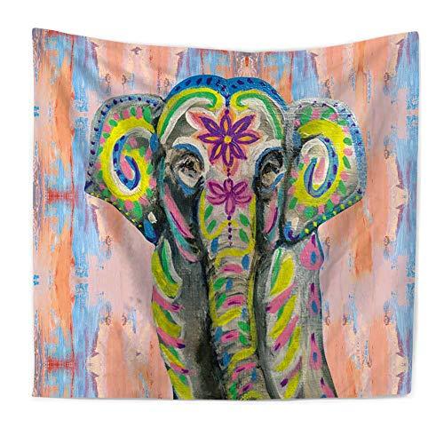 Tapiz de elefantes, Totem popular Acuarela Poliéster Mandala indio Colgante de pared,...