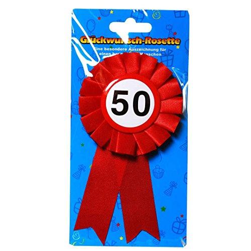 Anstecker für 50. Geburtstag Glückwunschrosette Rosette als Verkehrsschildform mit Zahl 50 Anstecker zum 50. Jubiläum