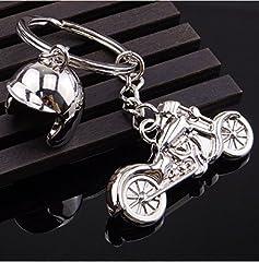 Idea Regalo - Sportigo Motocicletta con casco da motociclista portachiavi nel Colore argento/motociclista regalo