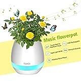 Macetas para flores musica Pathonor Macetas plastico bocina Bluetooth siete colores lámpara toque macetas decorativas para hogar oficina blanco