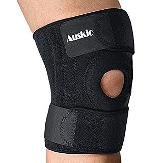 Auskio Kniebandage, Atmungsaktiver Knieschützer Verstellbare Knieorthese mit Gelenkschienen und Klettverschluss für Damen und Herren Schwarz