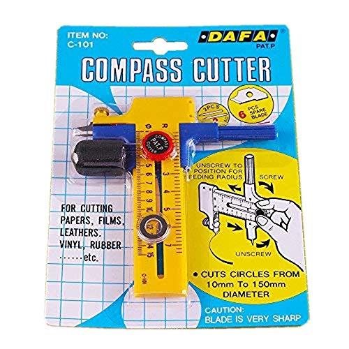 Yicbor compass circle cutter per tagliare carta, carta, vinile, film, cuoio (c-1036)