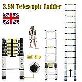 3,8m telescópico de aluminio telescópica Loft oficina en casa extensión escalera 13pasos?Max 150kg