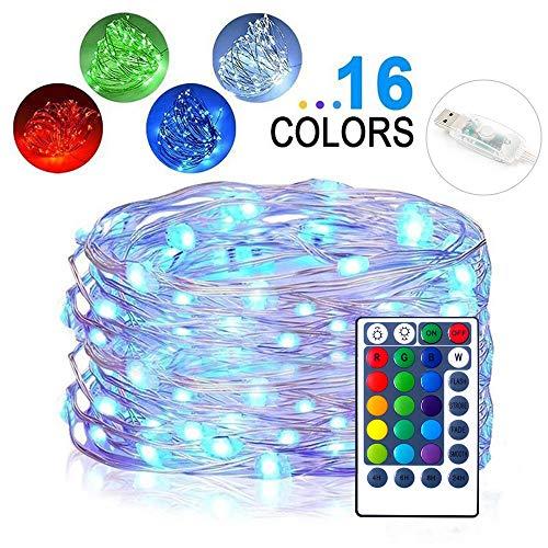 MultiColor Ändern der Lichterkette, Firefly Twinkle Lights mit Fernbedienung und Timer, 10M 100 LEDs 16 Farben, USB-betriebener wasserdichter Silberdrahtlichter für Außen und innen Deko (Lichterkette Multi-color)