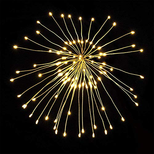Xelparuc [ 2er-Pack Pusteblume Lichterkette, LED Feuerwerk Kupfer Lichterkette Bouquet Form 100 LED Mikro-Lichter für DIY Hochzeit Tischdekoration Party (Warmweiß) -