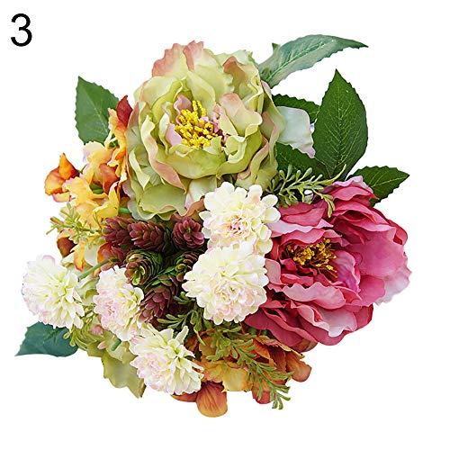 DarweirlueD DIY Décoration de jardin 1 Bouquet d'hortensias Pivoine Fausse Plante de Jardin Rose/vert