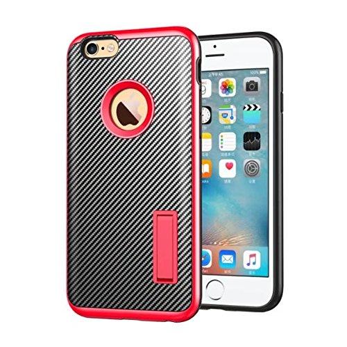 iPhone 6S Schutzhülle, Valenth Carbon-Faser-Hybrid-Gleitschutzgriff Ganzkörper-Schutz-Hülle mit Ständer für iPhone 6S 5#