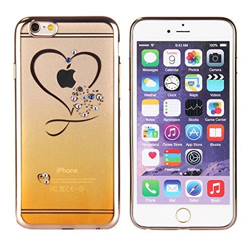 Coque Housse Etui pour iPhone 6 Plus, iPhone 6 Plus Coque en Silicone avec Bling Diamant, iPhone 6 Plus Or Coque Placage de diamant Etui Housse, iPhone 6s Plus Or Coque Gold Etui Housse avec Bling Dia Jaune amour