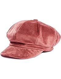 HowYouth® Berretto con Visiera Donna Invernale Ottagonale Baschi Cappello  Primavera di Velluto 60a5d70abad8