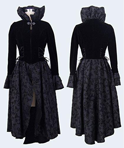 Longue robe manteau noir flocage fleuri velours gothique vampire aristocrate Noir