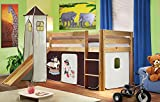 SixBros. Hochbett Kinderbett Spielbett mit Turm und Rutsche Massiv Kiefer Natur/Lackiert - Pirat Braun/Beige - SHB/65/1033