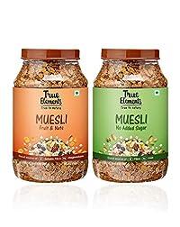 True Elements Breakfast Muesli Combo 2 Kg(Fruit & Nuts Muesli 1kg and No Added Sugar Muesli 1Kg)