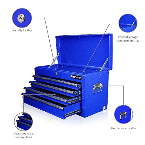 US Pro Tools Tool box 6cassetto mobile per attrezzi strumento portatile blu scorrevole cuscinetto a sfera cassetti