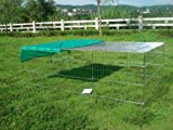 """215,90 cm (85"""") XXXL, a forma di cane della camera di chicken run-Box tetto, net, 4 porte chicken run-Box Box box con animali, gioco per box, colore: argento galvanizzato e Anti-ruggine"""