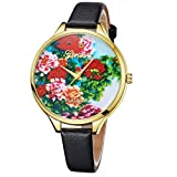 Qmber armbanduhren für Frauen, Pastoral Wind Pattern Round Glass Mirror Pointer Leather Quartz Lover's Sehen (Schwarz)