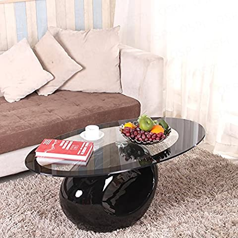 OSPI® Ring Shape Black Tempered Glass Coffee Table Fiberglass Base Living Room Furniture
