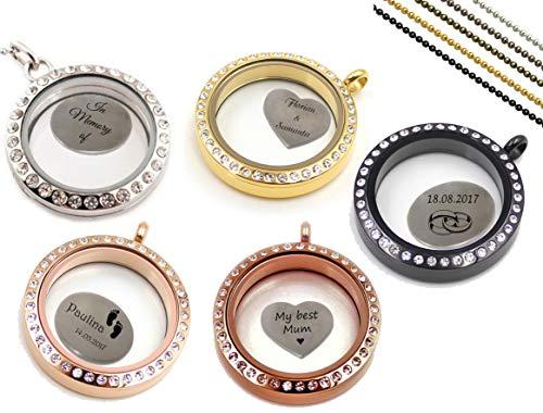 aplusashop Glas-Medaillon Floating Kette + Platte + Gravur nach Wunsch, 5 Farben! Geschenk! (Rose-Gold) -