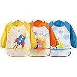 Oral-Q Unisexe Enfants Arts Craft Tablier Peinture Enfant Bavoirs bébé imperméable avec manches et poche, 6-36 mois, Lot de 3
