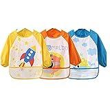 oral-q impermeable manga larga Niños del Arte Smock con bolsillos–arte pintura delantal para niños 3piezas/set y # xFF08; Amarillo, Verde, Rosa y # xFF09; rosa rosa