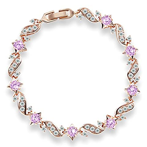 GULICX Cubic Zirconia Gold Electroplated Leaf Link Bracelet Chain Pink Jewellery for Women Girl